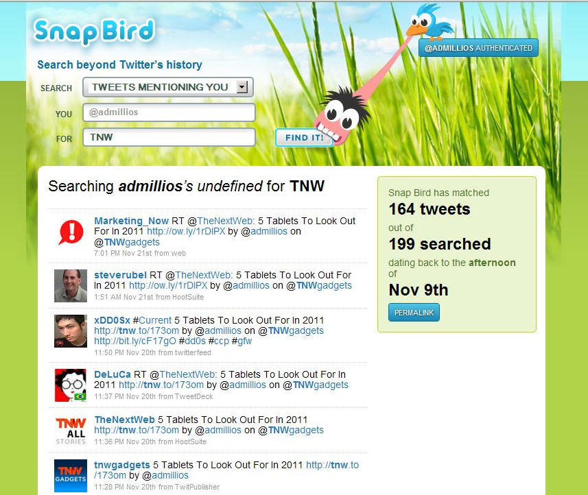 market1 Snap Bird helps find old tweets and messages by going where Twitter Search cant: months back