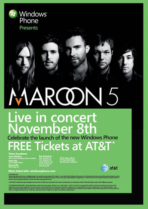maroon5 poster thumb Maroon 5 Kicks Off Windows Phone 7 Launch