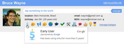 orkut badges 1en Orkut becomes first social network to offer badges   Google Me preview?