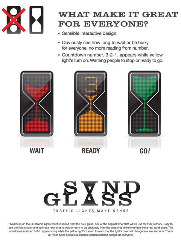 sandglass signal3 New traffic light concept design   genius or unsafe?