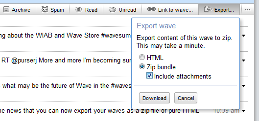 screenshot export Google Wave content can now be exported as a Zip file
