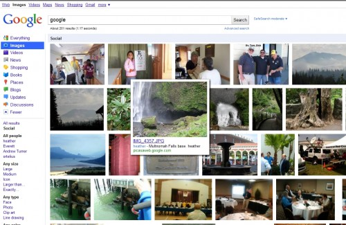 socialpics 500x325 First evidence of Google Me? Google is testing Social image search