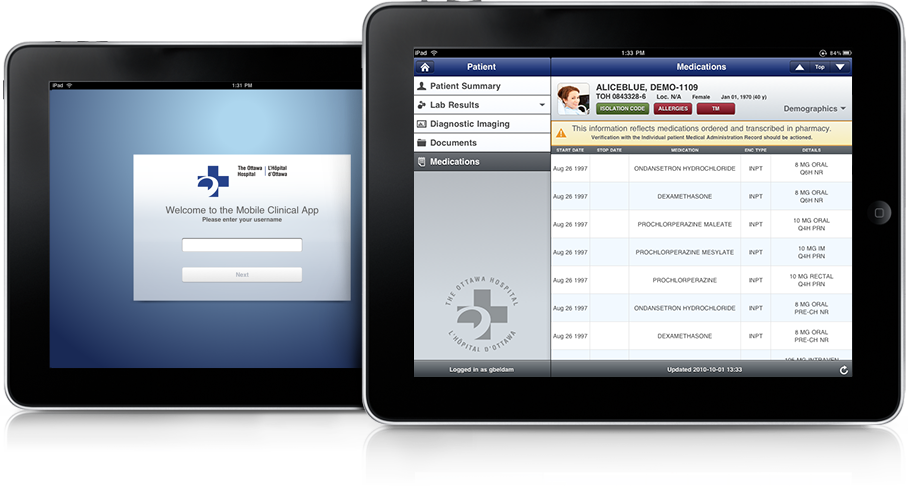 Electronic Medical Records come to an Ottawa Hospital on the iPad