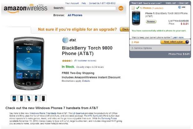 torch Blackberry Torch now costs 1 cent on Amazon