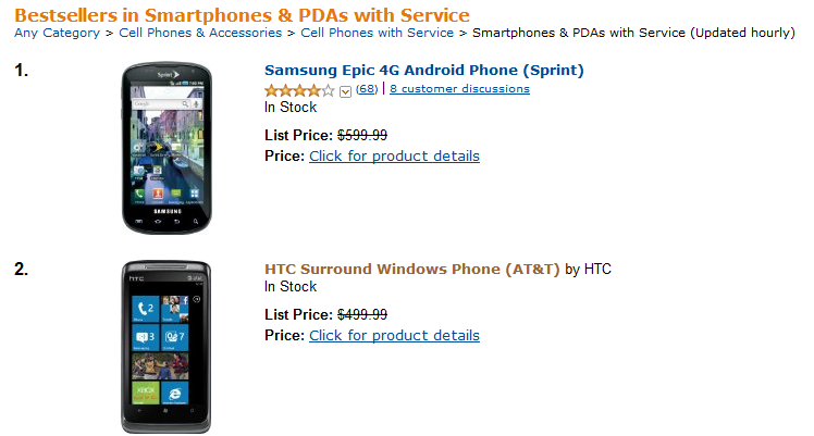 win Is it a hit? The Samsung Focus, a Windows Phone 7 device, is sold out on Amazon