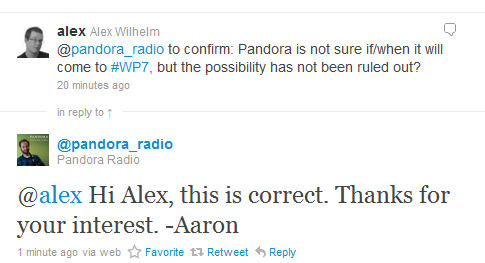 2010 12 06 1328 A musical disappointment: No Pandora for Windows Phone 7 in sight