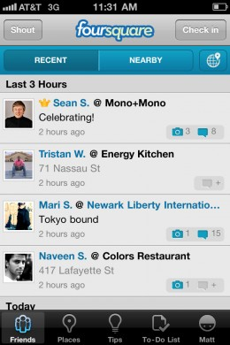 Friends 260x390 Foursquare adds photos and comments to its new iPhone app
