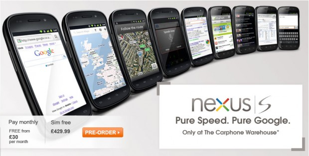 Nexus S from Google 620x313 Carphone Warehouse cuts £120 off Nexus S ahead of its release