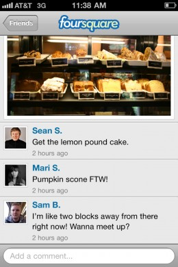 Photo with comments 260x390 Foursquare adds photos and comments to its new iPhone app