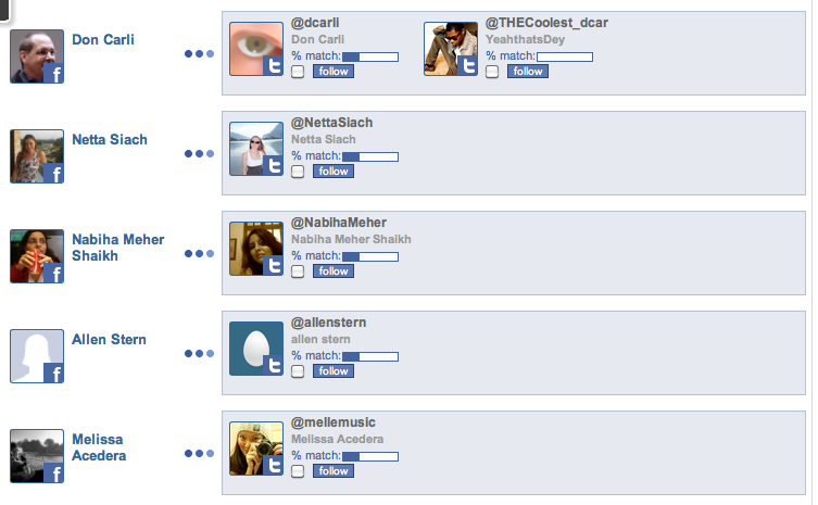 FriendLynx helps you find your Facebook friends on Twitter