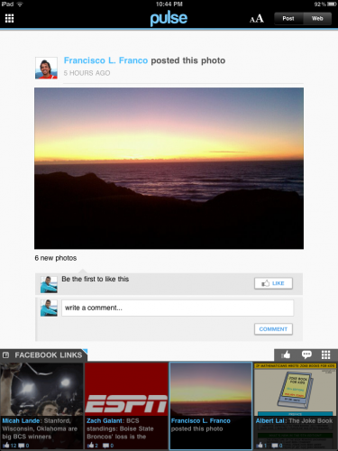 Pulse Facebook Post2 375x500 Flipboard killer? Pulse News Reader for iPad adds Facebook integration.