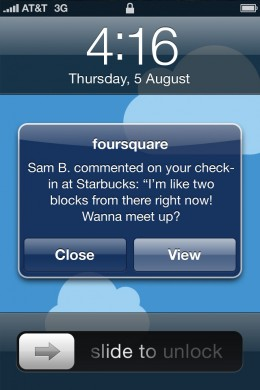 Push Notification 260x390 Foursquare adds photos and comments to its new iPhone app