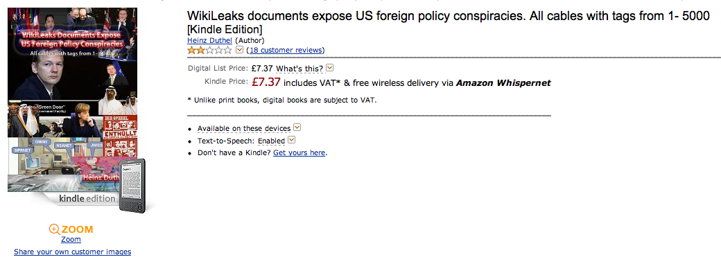 Screen shot 2010 12 09 at 13.27.32 Wikileaks Cables now available on Amazon, reviewers are not happy.