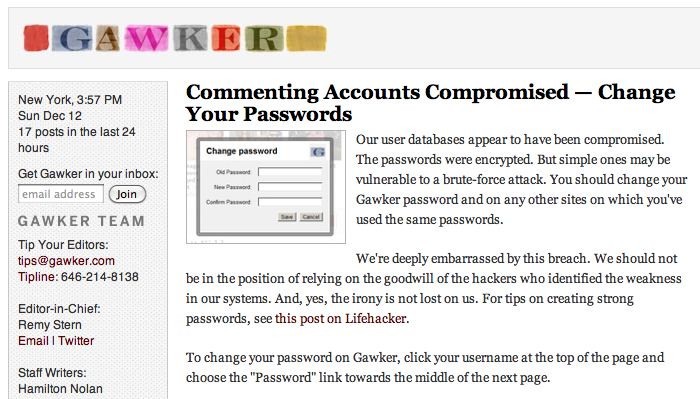 Screen shot 2010 12 12 at 21.10.13 Gawker Media is compromised. The responsible parties reach out to TNW [Updated]