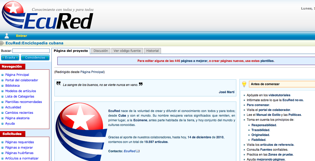 Screen shot 2010 12 13 at 7.48.04 PM Cubas answer to Wikipedia, EcuRed Launches Tomorrow