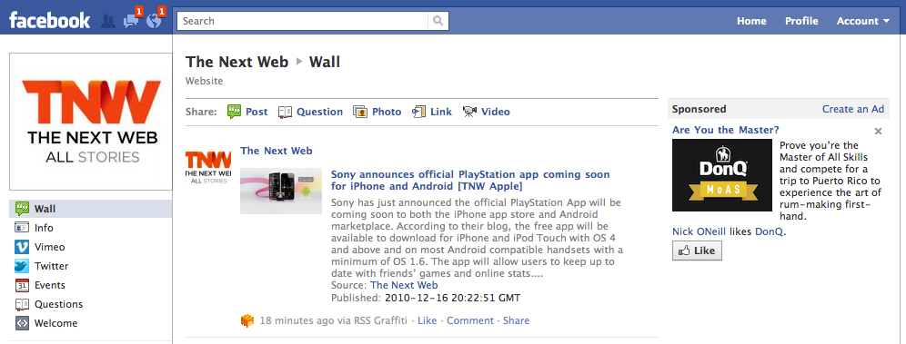 Screen shot 2010 12 16 at 2.43.47 PM The new Facebook Fan pages are live. No tabs, cleaner interface and more features.