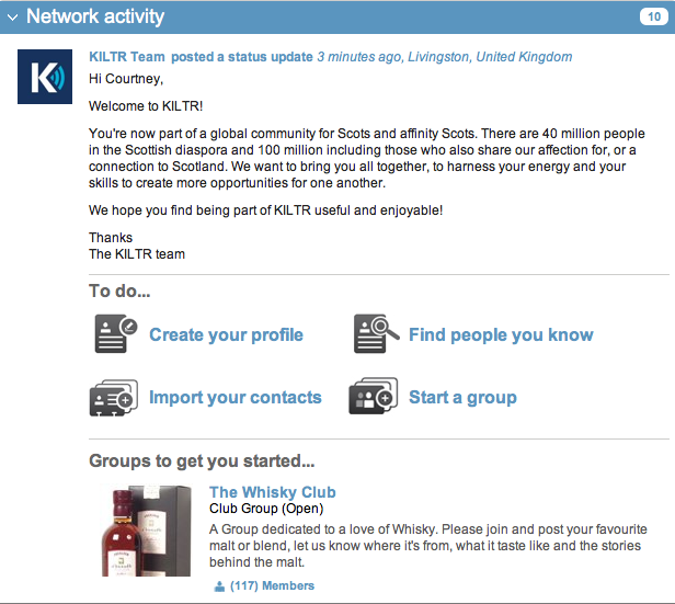Screen shot 2010 12 20 at 3.36.28 PM KILTR, like LinkedIn but for Scottish people and their mates