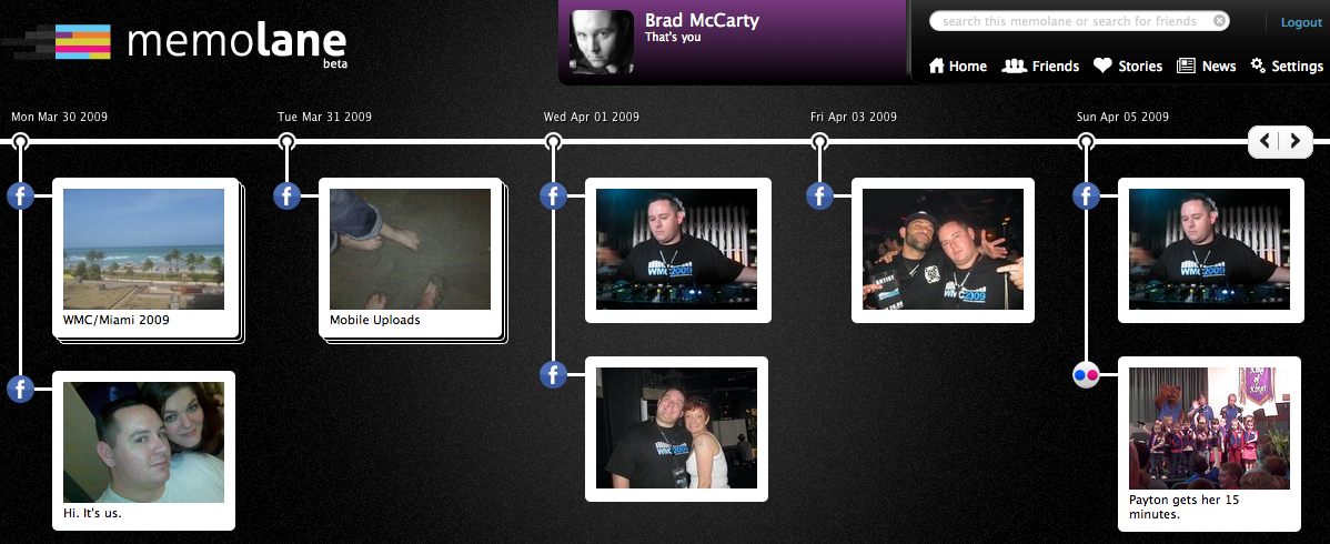 Screen shot 2010 12 20 at 6.58.52 PM Memolane: Your social media actions become a slick timeline of memories [Invites]