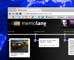 Screen shot 2010 12 20 at 9.03.54 PM 260x213 Memolane: Your social media actions become a slick timeline of memories [Invites]