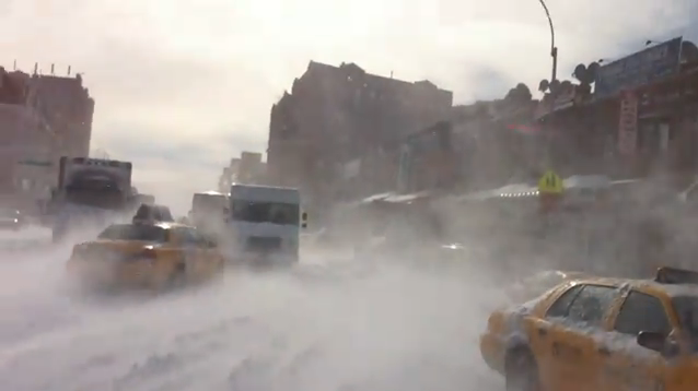 Blizzard Aftermath Video, a Walk Down the Street