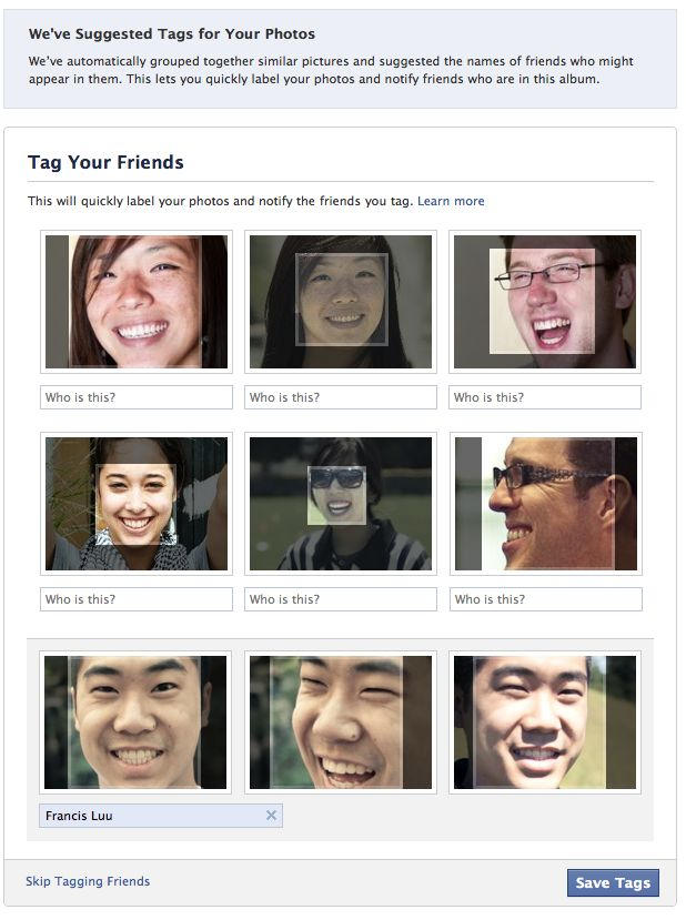 Facebook Tag Suggestions uses facial recognition for tagging photos of friends