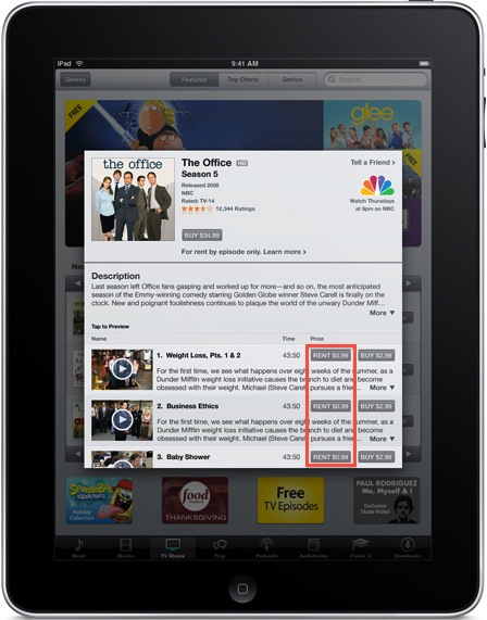 TV Rentals on iPad Rumor mill: NBC $0.99 Show Rentals in iTunes?