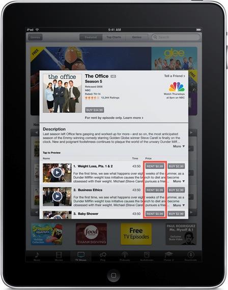 TV Rentals on iPad Rumor mill: NBC $0.99 Show Rentals in iTunes?