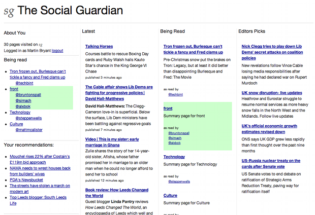The Social Guardian 2 The Social Guardian points to the future of real time news sharing