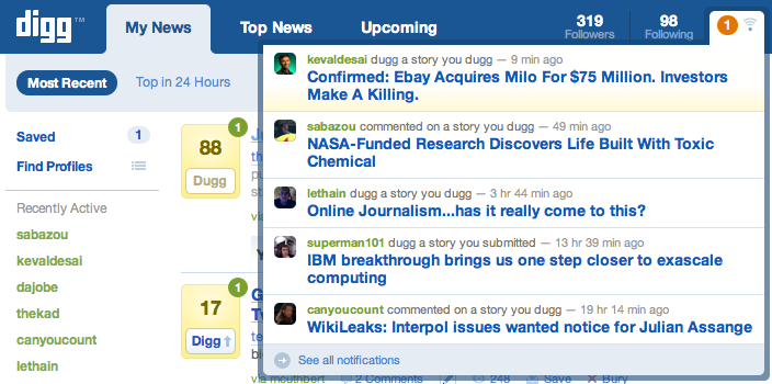 digg2 Digg adds onsite notifications and additional email notifications in latest update