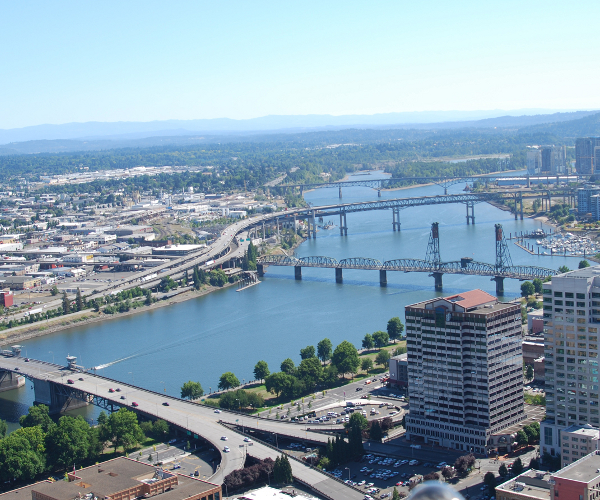 portland southside from top of big pink