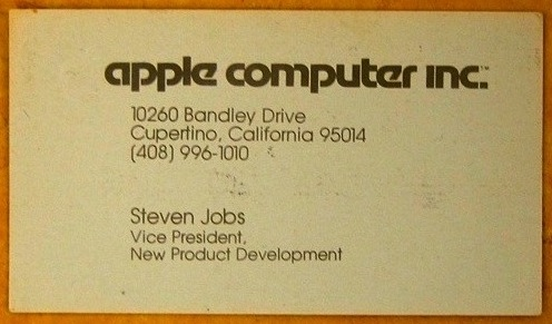 steve jobs business card 1979: Hi! Im Steven Jobs, VP at Apple Computer Inc., heres my card!