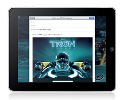 tron iad 121410 First iAd on the iPad appearing later today features Tron Legacy