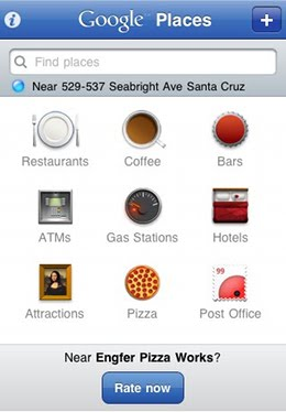 Places v1 Dashboard Screenshot1 Google launches iPhone app for social place recommendations