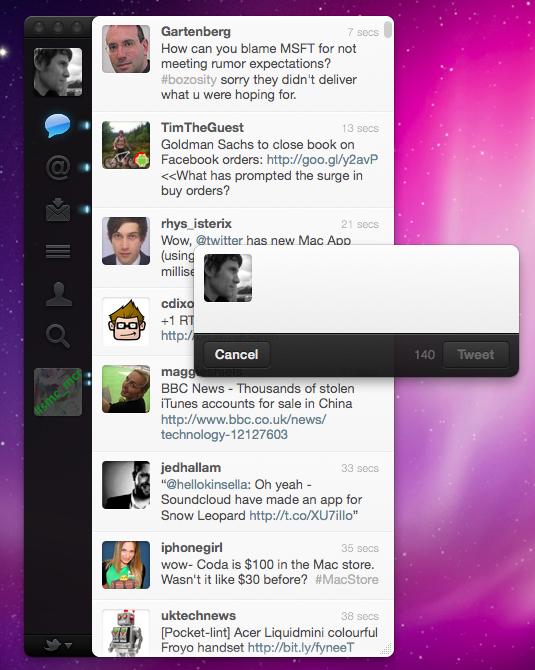 Screen shot 2011 01 06 at 15.23.05 Twitter for Mac is here, the first official app to get real time tweets