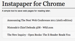 Screen shot 2011 01 10 at 12.45.13 260x143 Read articles offline in your browser with this Instapaper Chrome app