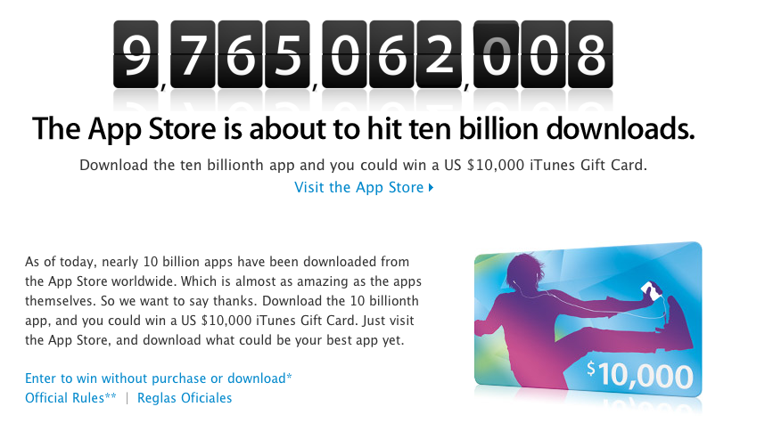 Screen shot 2011 01 14 at 15.42.39 Apple Is About To Register Its 10 Billionth App Download