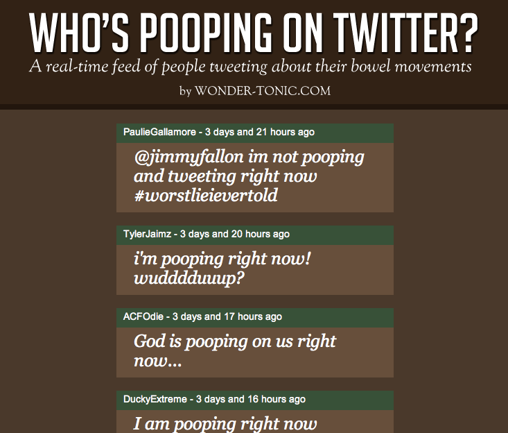 Screen shot 2011 01 15 at 2.55.31 PM Whos pooping on Twitter? Find out here.