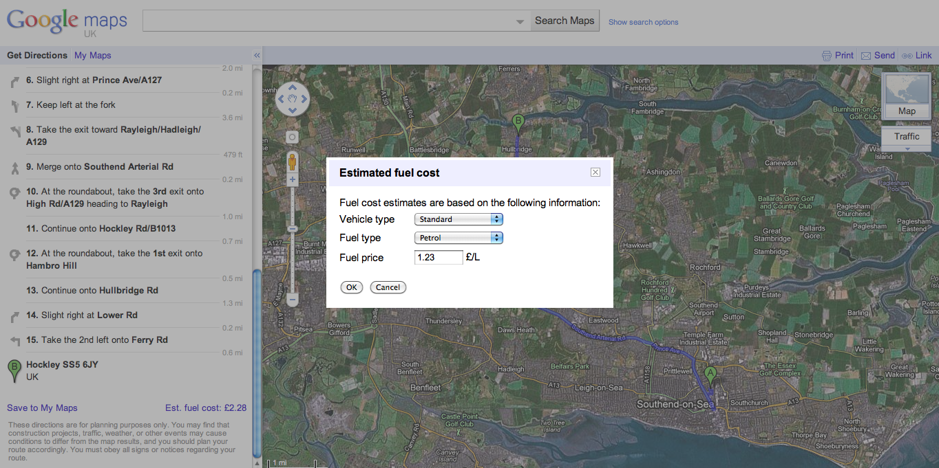 Screen shot 2011 01 24 at 15.48.15 Google Maps Now Has A UK Fuel Cost Calculator