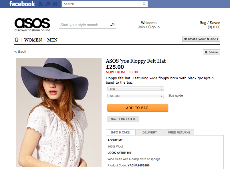 Screen shot 2011 01 26 at 4.12.18 PM ASOS, Europes first integrated Facebook store launches
