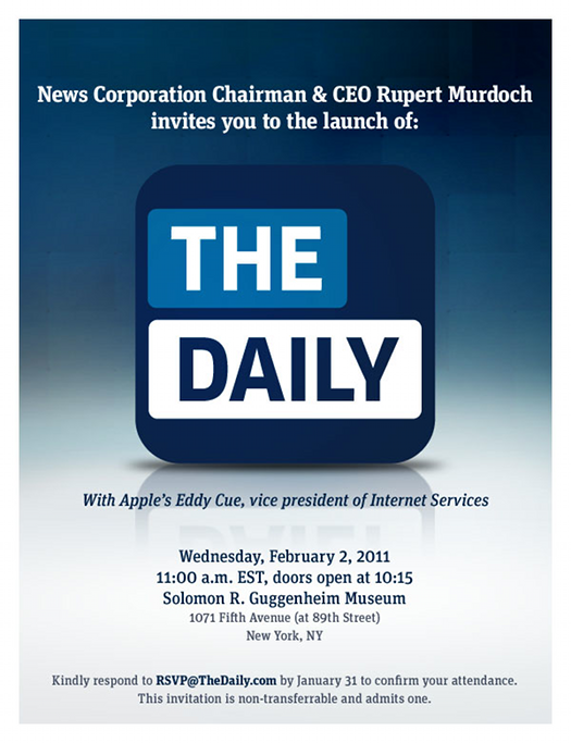 The Daily 0202111 Apple and Rupert Murdoch to launch The Daily on 2 February