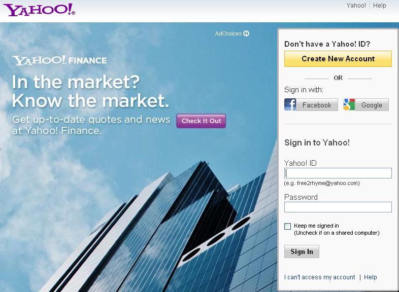 Yahoo login with Facebook Google