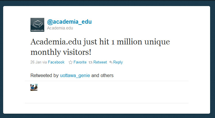 achdemia Academia.edu passes 1 million monthly uniques; pushes toward academic excellence