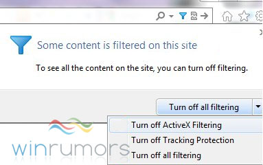 activexfilterie9rc The Internet Explorer 9 RC will contain ActiveX filtering
