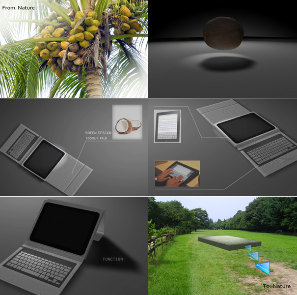 econut2 Eco friendly iPad Case with Keyboard made from Coconut trees