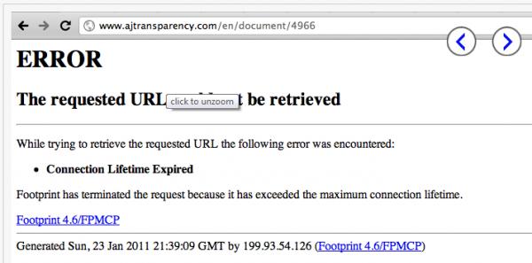 AJTransparency.com Blocked in Palestine