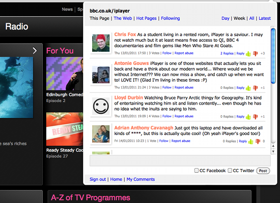 pushnote iplayer Is Pushnote, the new Stephen Fry backed Web comments service, actually any good?