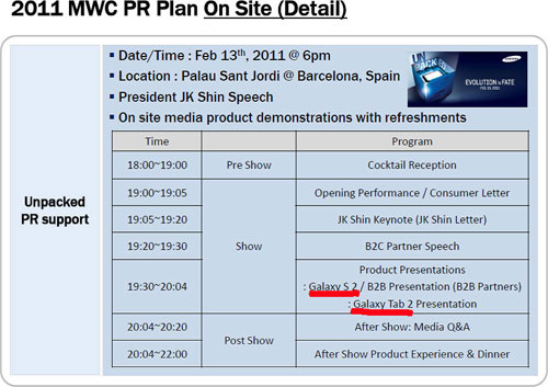 Leaked Samsung MWC schedule outs Galaxy S 2 and Galaxy Tab 2