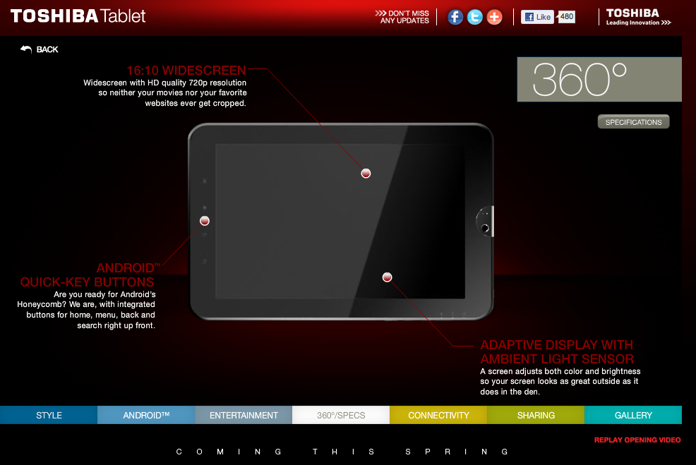 toshiba Toshiba releases a teaser page for its new Android 3.0 tablet