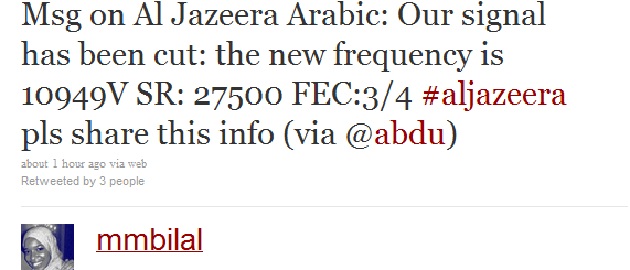 New Al Jazeera Frequencies tweet