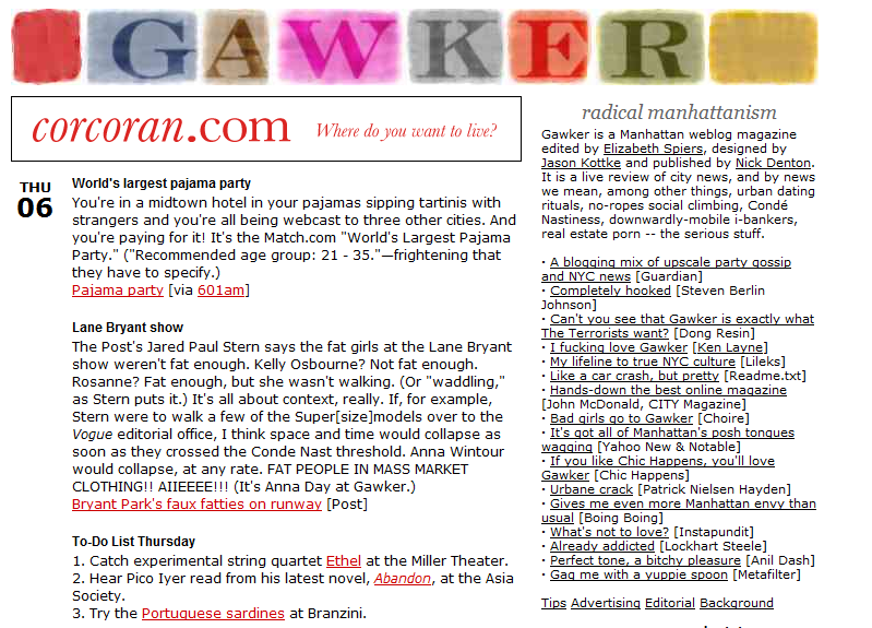 2011 02 11 1444 Forget their new layout, check out the very first Gawker design